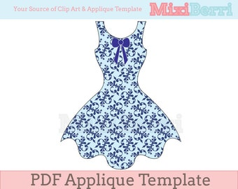 PDF Applique Template - Dress
