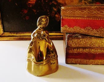 Vintage Brass Lady Bell, Figural Dinner Bell, Holiday Table Bell, Southern Belle Petite Dinner Bell, Brass Paperweight