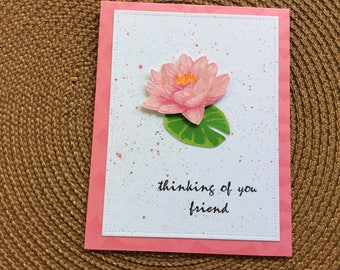 Handmade Greeting Cards: Thinking of You card with pink flower