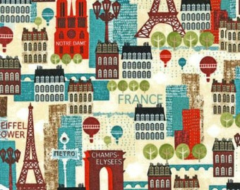 Robert Kaufman Hello Paris by Mo Mullan City Scape in Multi by the Yard
