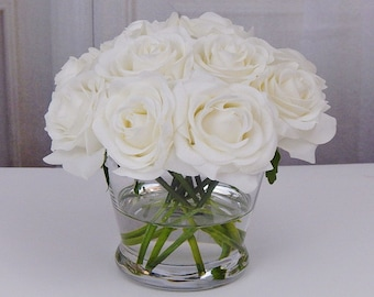 12, white or cream, rose/roses, glass, vase, faux, water, acrylic/illusion, silk, Real Touch flowers, floral arrangement, centerpiece, decor