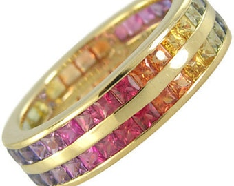 Multicolor Rainbow Sapphire Double Row Eternity Ring 18K Yellow Gold (6ct tw) : sku 391-18k-yg