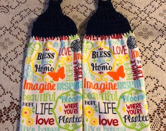 Inspirational home decor handmade crochet top decorative kitchen towel set