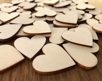 50 Blank Wood Hearts -  1 inch / 30 mm -  Wedding Table Scatter Confetti - Craft Wood Hearts