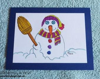 "Original drawing postcard ""winter"" - felts alcohol"