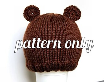 Knit Pattern: Ribbed Brim Teddy Bear Hat - Baby Photo Hat - Baby Photo Prop