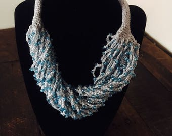 Handmade statement necklace chunky multi-strand beaded one of a kind special crocheted handcrafted