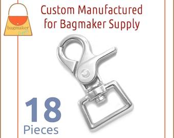 3/4 Inch Trigger Style Swivel Snap Hooks, Shiny Nickel Finish, 18 Pack, Purse Clip, Handbag Bag Making Hardware Supplies, SNP-AA154