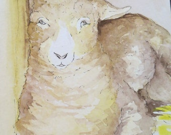 Golden Lamb Watercolor