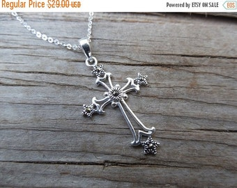 ON SALE Marcasite cross necklace handmade in sterling silver