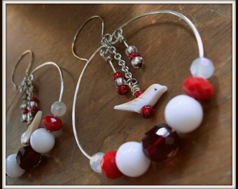 SALE Large Red & White Birdie Hoops