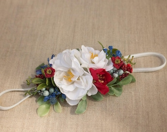 Skinny Stretch Flower Headband - Red White & Blue with Greenery - m2m Well Dressed Wolf - July Fourth - Memorial - Military - America
