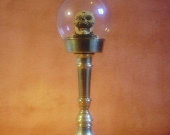 NESCIO - Steampunk Glass Sphere Skull on Brass Pedestal - 'Memento Mori'