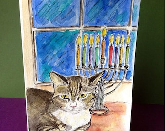 Hanukkah Cat Card, Hand Painted Card, Original Watercolor, Happy Hanukkah, Hanukkah Painting, Judaica Artwork, Jewish Holidays, Cat Drawing