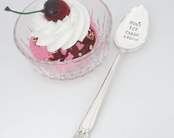 Mom's Ice Cream Spoon Hand Stamped on Silver plated , Stamped Flatware, Stamped Silverware, Ice Cream Spoon, Mom Gift, Custom, Under 20