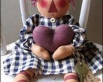 """Primitive Raggedy Ann PATTERN """" My Heart Belongs to Andy"""""""