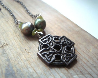 Celtic Cross Necklace Pearl and Peridot Gunmetal Pearl Jewelry August Spiritual Irish Religious Mothers Day St. Patricks Gifts Under 30