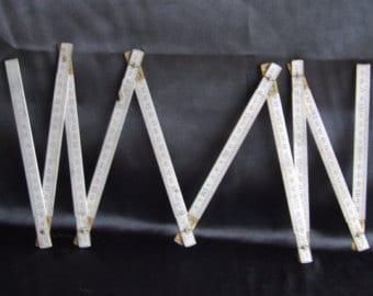 2000 mm Aluminum Fold-able Ruler//Concertina Ruler//Aluminium Rule//Vintage French Metric Rule//Metric Rule
