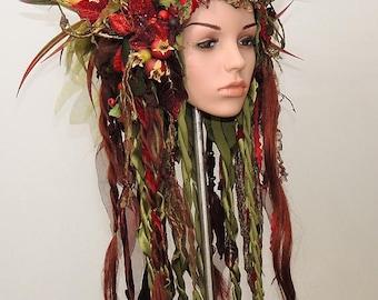 Fairy-Headdress // Headpiece red // Forest-Queen