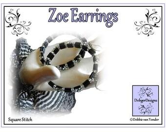 Tila Beading Pattern, Tutorial, Earrings - ZOE