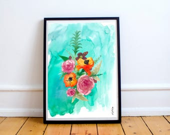 Floral botanical watercolor print fine art giclee archival home decor wall art digital download JPG