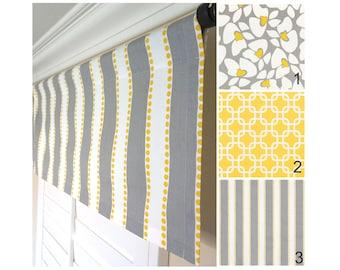 Yellow Gray Window Valance.Grey Valance.Yellow Valance.Yellow Gray Floral Valance.Kitchen Valance.Gray Window Treatment Valance