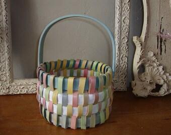 Vintage basket candy container gift basket home decor organization Craft storage basket shabby cottage chic colors washcloth basket