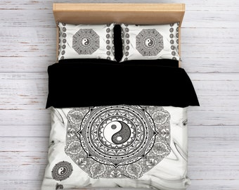 Yin Yang Bedding, Mandala Bedding, Boho Bedding, Bohemian Bedding, Queen Bedding, King Bedding, Boho Duvet Cover, Boho Decor, Black Yin Yang