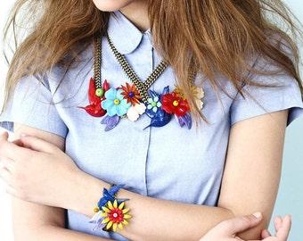 Blue Bracelet, Vintage Statement art Bracelet, Metal Flower & Swallow Bird Wide Bracelet, Alternative Wedding Jewelry