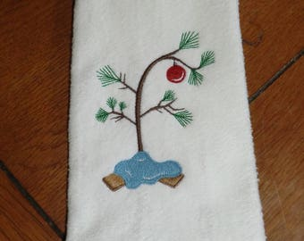 Embroidered Finger Tip Towel  - Christmas - Charlie Brown Christmas Tree