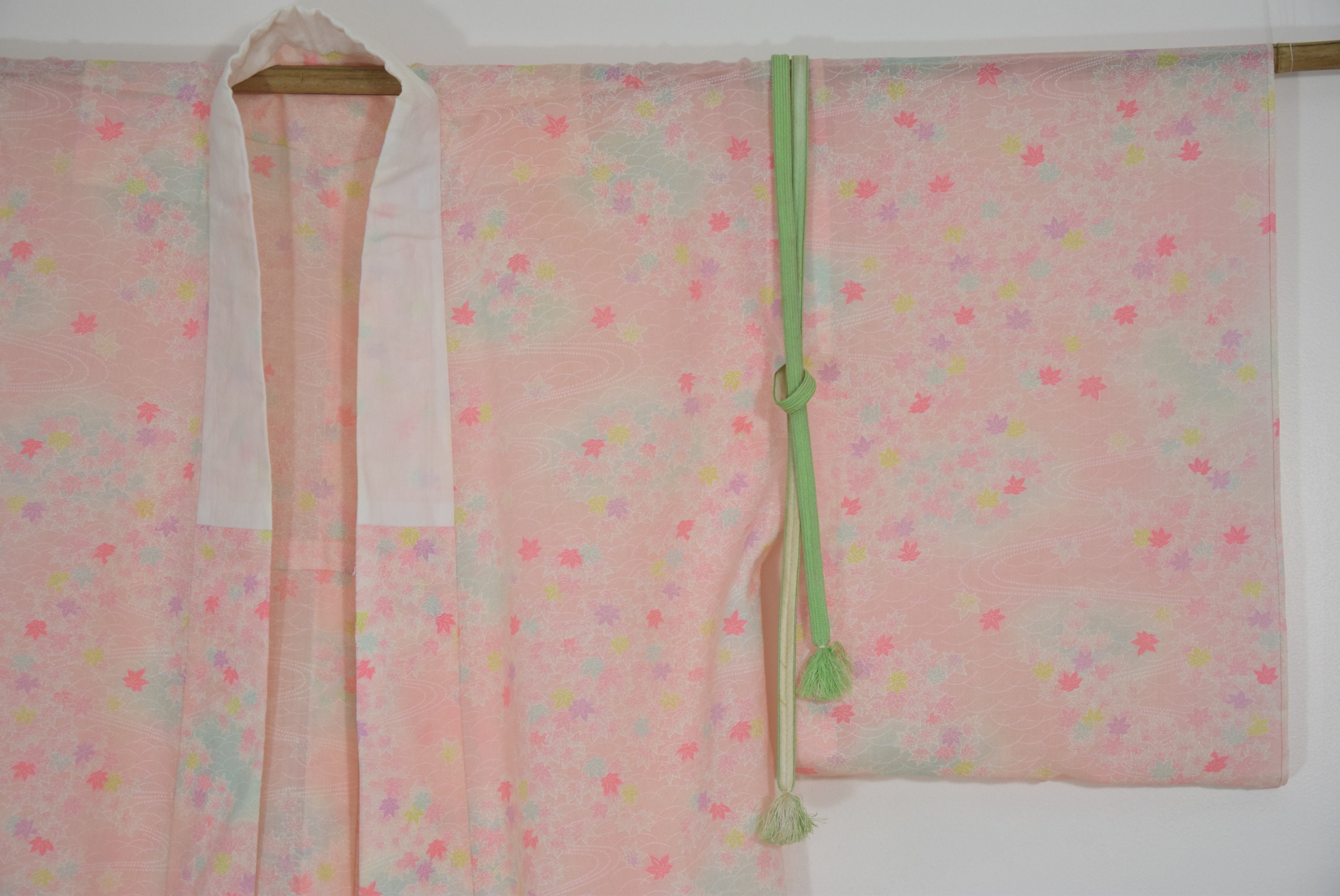 Nagajuban, Japanese Vintage Kimono wool pink with free Obijime belt ...