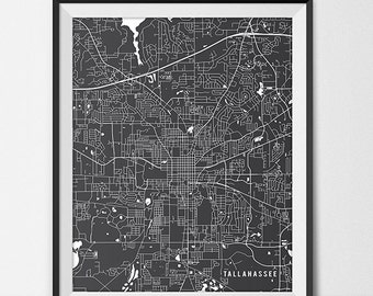 Tallahassee Florida State Map Art Print, Florida State University Poster Gift Dorm Decor Graduation Gift Tallahassee Art Gift