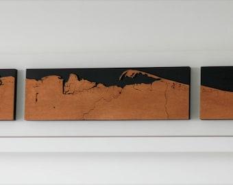 North Norfolk Coast map hand-cut in wood
