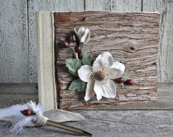 Rustic Chic wooden wedding guestbook with pen, Farmhouse chic guestbook and pen with white feather, Ivory flower and berries guestbook, Gift