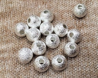 8mm Round Silver Stardust Beads, 14 Pieces, Large Hole Metal, 8mm Silver Metal, 8mm Stardust, 8mm Silver Stardust Bead, Big Hole Metal Bead