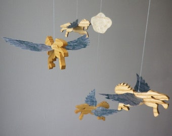 Mobile 4 Pegasus (winged horse) wood and handmade paper
