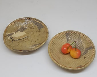 2 decorative Pottery small bowls, modern ceramic small bowls, 2 small bowls for serving , decorated with 24k gold round ceramic , marbling,