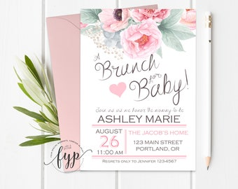 Floral Baby Shower Invitation, Brunch For Baby Invitation, Girls Baby Shower Invitation, Brunch Baby Shower