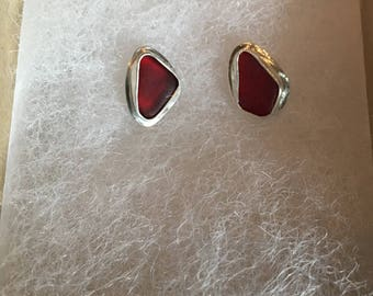 Genuine Red Sea Glass Sterling Silver Studs Earrings