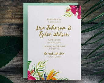 Tropical Wedding Invitation, Hawaii Wedding Invite, Beach Wedding, Maui Wedding, Destination Wedding, Fiji Wedding, Island Wedding