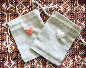 Embroidered Heart Pouches