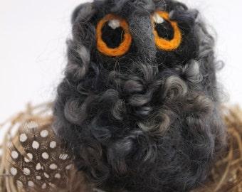 Needle Felted Owl Baby Dark Grey Owlet, Felt Bird