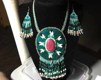 Hand beaded gemstone rosette necklace