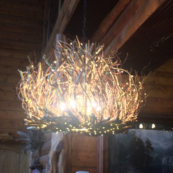 Rustic Handmade Light Fixture Twig Chandelier Branch: The Lady Honeysuckle Vine Light Rustic Chandelier 7