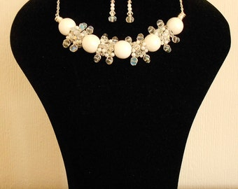 Crystal White Ceramic Wire Wrap Necklace and Earrings Set