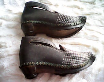 1800s WOOD LEATHER SHOES/Clogs Hand Made  Hobnail English
