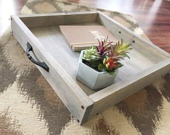 wooden serving tray, magazine tray, farmhouse decor