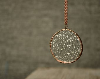 large clear necklace, corrugated glass pendant, soldered copper jewelry, gift for mom
