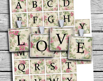 Floral Alphabet Square images 0.75x0.83 inch 1x1 inch and 1.5x1.5 inch Printable Images for  Scrapbooking Pendants Digital Collage Sheet