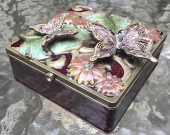 ON SALE Butterfly Trinket Box Brass Cloissonne Enameled Botanical Floral  Relief Design Swarovski Crystals Butterfly Museum Key West Vintage